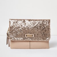River Island Womens Rose Gold Sequin Fold Over Clutch Handbag