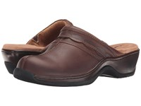 Softwalk Abby Dark Brown Oily Leather Clog Mule Shoes