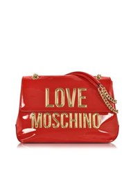 Love Moschino Red Patent Eco Leather Shoulder Bag W Signature Logo