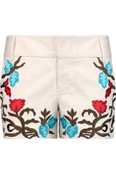 Alice Olivia Cady Embroidered Cotton Blend Shorts Cream