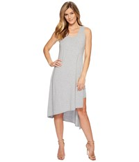 Mod O Doc Cotton Modal Spandex Jersey Double Layer High Side Slit Tank Dress Smoke Heather Gray