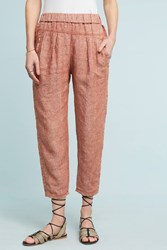Anthropologie Striped Linen Joggers Red Motif