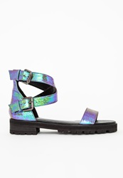 Missguided Cleated Gladiator Sandal Teal Blue