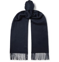 Alexander Mcqueen Fringed Logo Embroidered Cashmere Scarf Blue