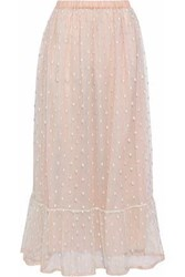 Red Valentino Embroidered Tulle Maxi Skirt Pastel Pink