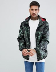 Soul Star Zip Through Printed Nylon Hooded Jacket Green
