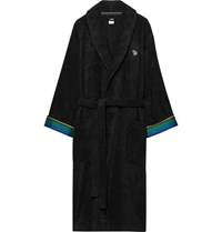 Paul Smith Stripe Trimmed Cotton Terry Robe Black