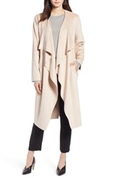 Halogen Faux Suede Front Drape Trench Coat Blush