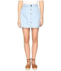 Bb Dakota Starks Button Front Skirt Washed Our Chambray Women's Skirt Blue