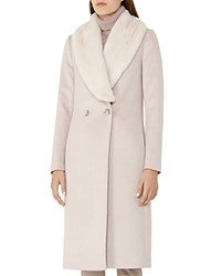 Reiss Franchesca Faux Fur Shawl Collar Coat Cloud
