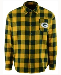 Forever Collectibles Men's Green Bay Packers Large Check Flannel Button Down Shirt Green Yellow