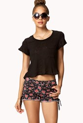 Forever 21 Lace Up Floral Cut Offs Black Red