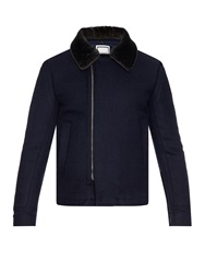 Wooyoungmi Shearling Collar Wool Bomber Jacket