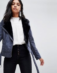 Barney's Originals Jacket With Faux Fur Collar Navy And Black
