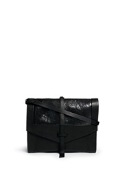 Isabel Marant 'Helmut' Snakeskin Leather Combo Accordion Clutch Black