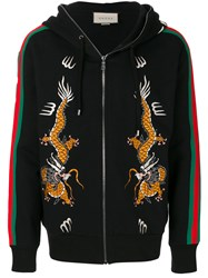 Gucci Dragon Embroidered Zip Hoodie Cotton Polyamide M Black