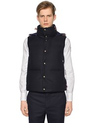 Moncler Gamme Bleu Hooded Wool And Nylon Down Vest