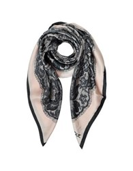 Moschino Boutique Lace Print Silk Square Scarf Black Pink