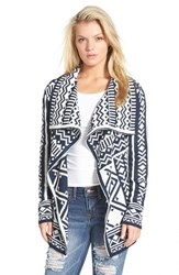 Junior Women's Woven Heart Print Open Cardigan