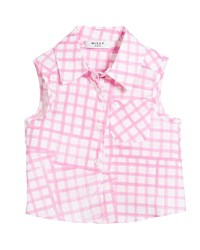 Milly Minis Tie Back Sleeveless Check Blouse Pink