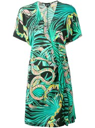 Just Cavalli Snake Print Wrap Dress Women Viscose 44 Green