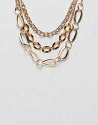 Stradivarius Carey And Gold Chain Necklace