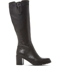 Dune Todd Cleated Sole Leather Boots Black Leather