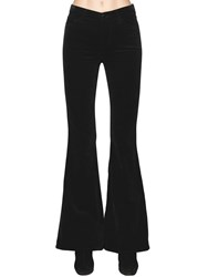 J Brand Valentina High Rise Velvet Flared Pants Black