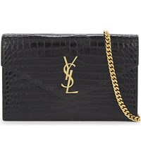 Saint Laurent Monogram Crocodile Embossed Leather Wallet On Chain Black Gold Hw