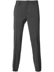 Paolo Pecora Tailored Trousers Spandex Elastane Virgin Wool Grey
