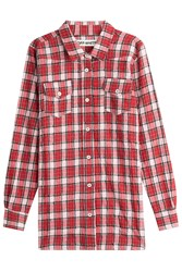 Off White Checked Virgin Wool Shirt With Cotton Multicolor