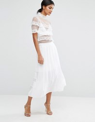 Asos Pleated Skirt In Sheer And Solid White