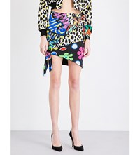 Moschino Printed Silk Twill Mini Skirt Multi