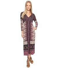 Lucky Brand Knit Maxi Dress Burgundy Multi Women's Dress