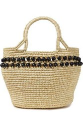 Sensi Studio Woman Bead Embellished Toquilla Straw Shoulder Bag Neutral
