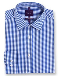 Double Two Slim Fit 100 Cotton Non Iron Shirt Blue