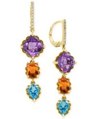 Effy Multi Gemstone 9 1 4 Ct. T.W. And Diamond Accent Drop Earrings In 14K Gold Yellow Gold