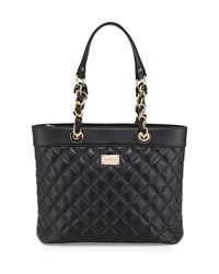 St. John Quilted Leather Shoulder Tote Bag Black