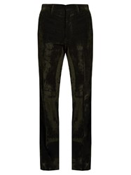 Bottega Veneta Loose Fit Brushed Velvet Trousers Dark Green