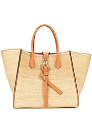 Ermanno Scervino Large Front Clasp Tote Neutrals