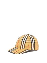 Burberry Vintage Check Cotton Baseball Cap Yellow Print