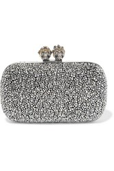 Alexander Mcqueen Queen And King Crystal Embellished Suede Clutch Silver