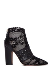 Valentino Lace Block Heeled Ankle Boots Black