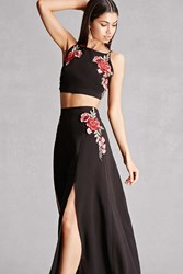 Forever 21 Reverse Crop Top And Skirt Set Black