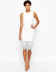Asos Scuba Crop Top Lace Midi Pencil Dress Ivory