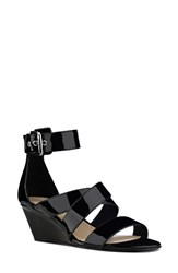 Nine West Women's Piwow Wedge Sandal Black Faux Leather