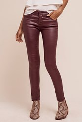Anthropologie Ag Leatherette Low Rise Legging Ankle Jeans Wine