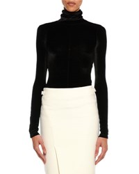 Tom Ford Long Sleeve Stretch Velvet Turtleneck Black
