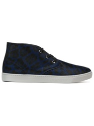 Dolce And Gabbana Leopard Print Hi Top Sneakers Blue