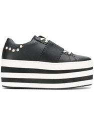 Moa Master Of Arts Striped Flatform Sneakers Black